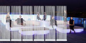 Beleuchtete Loungemöbel mit Sichtschutz vom Hersteller Skydesign