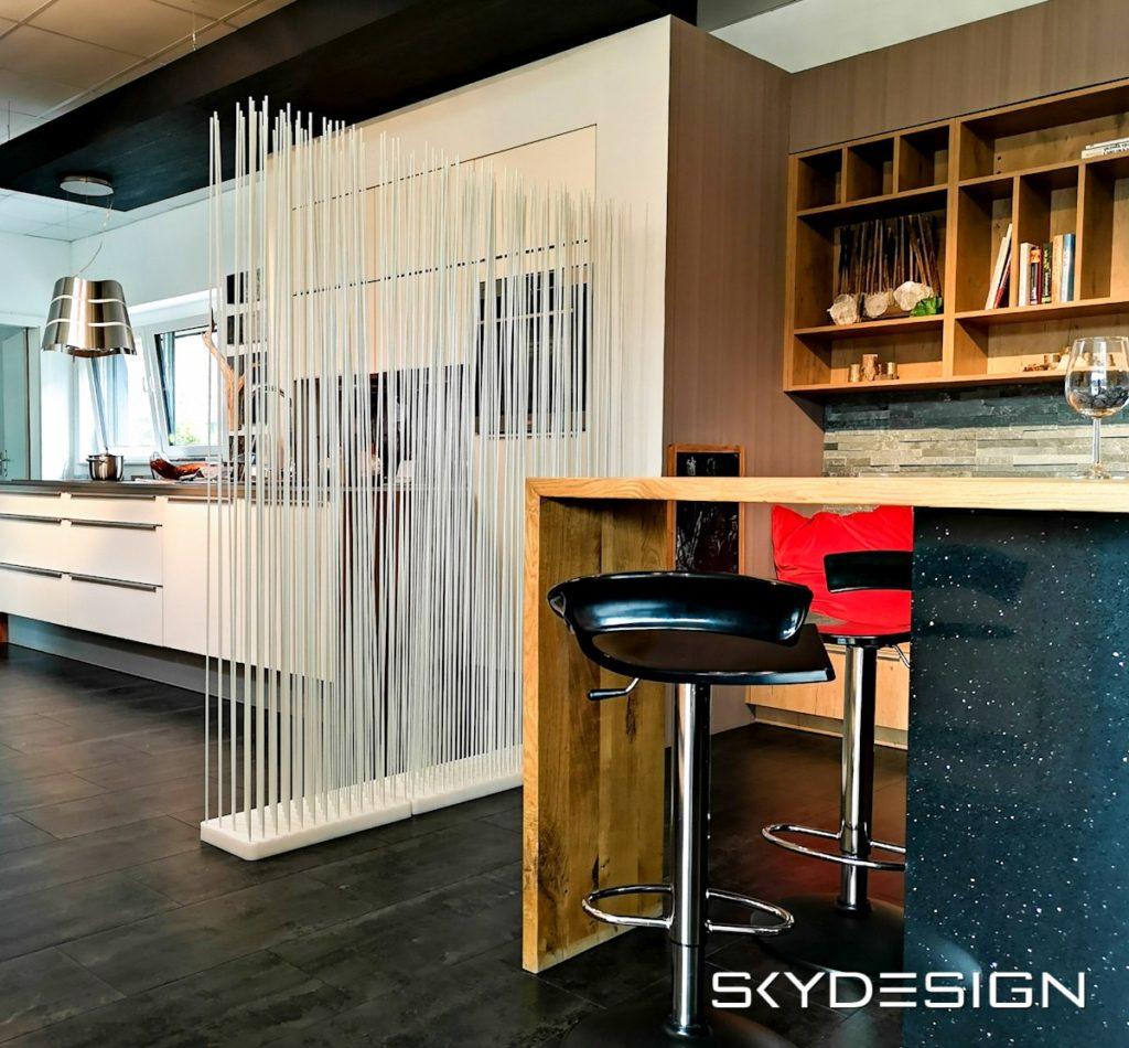 Wohnen der Zukunft, moderne Möbel, moderner Raumteiler