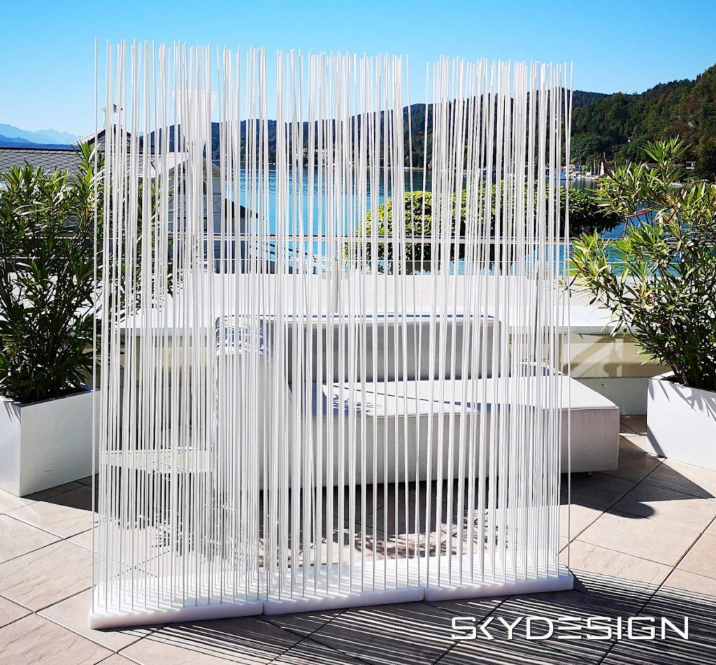 Skydesign Raumteiler Sichtschutz Weiß - Sichtschutz Terrasse Balkon Garten