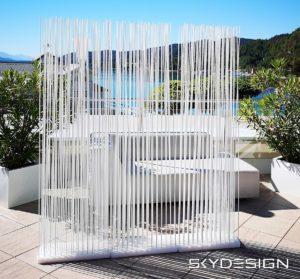 Trennwand Systeme für die Terrasse in Weiss
